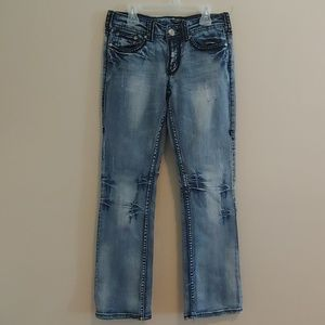 Cowgirl Tuff Distressed Laced Pocket Jeans